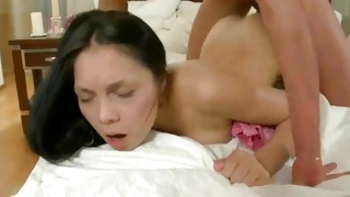 Guy is giving a kiss to the undressed sexy beauty