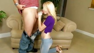Blonde gorgeous slut is kneeling for a blowjob