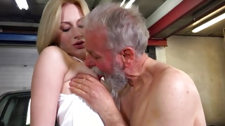 Brutal old man is licking her erect pretty nipps