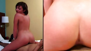 Spicy cutie groaning while covered with cum on her fine face