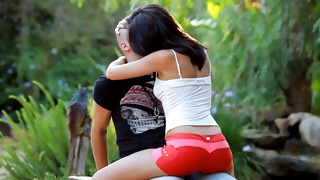 Busty young bitch gets her hugged from behind by dude