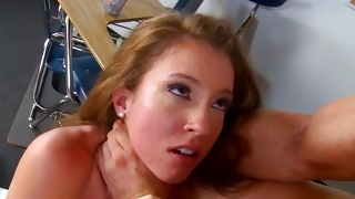 Golden haired furious slut is poured with hard 10-pounder
