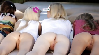 Several teen babe are posing with nude asses on teen porn