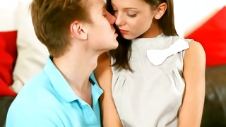 Precious brunette is going to kiss the ill-mannered fellow