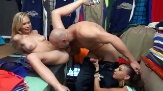 Bald dude is smashing these babe's tight holes deep