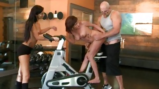 Two nude babes keep on riding fat huge donger