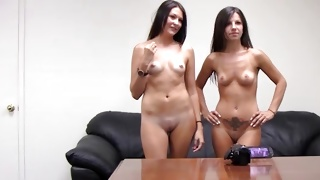 Two gorgeous babes are exposing their sweet boobs dirty