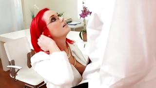 Pink haired furious woman is sexy talking on phone