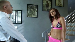 Bitchy teen babe in underwear greeting horny mature