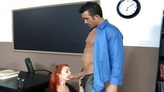 Kinky hottie is hugged by horrible teacher