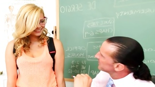 Curly blondie is kinky observed by horrible dude