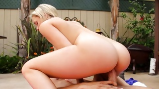 Horny young gal is posing before amazing dude