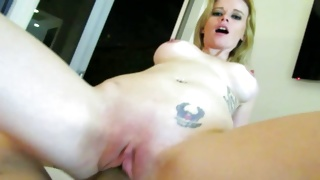 Blonde breasty whore is naughty sucking a pecker