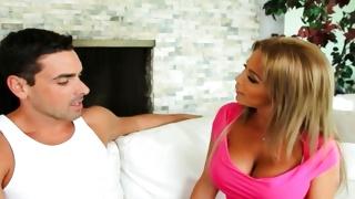 Blonde naughty bitch seducing dirty man