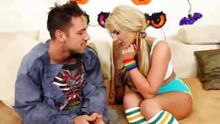 Juicy young wench is persuaded by cruel dude