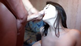 Topless naughty bitch is screaming while poked depraved