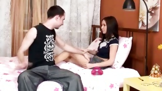 Brunette tasty chick is touched by ill-mannered guy