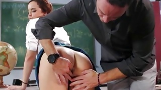 Horny guy is wildly touching her amazing ass cheeks