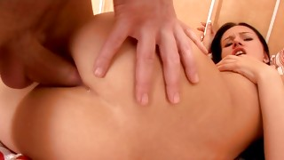Peer on adorable brown-haired is getting her anal permeated with cock