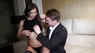 Cum gutter with netting on her legs is moaning from the grumpy taking advantage