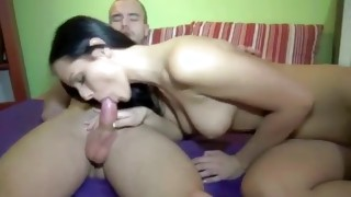Nice tittied tramp is swallowing hard core on the powerful sausage