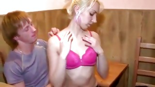 Simple fair-haired bitch is taking pleasure from being kissed on her neck