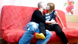 Bright-haired spoilt streetwalker is watching on dude who jerking off his shlong