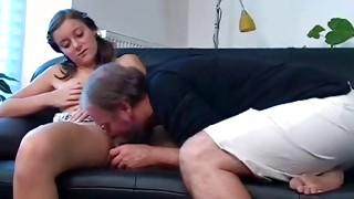 Nasty bro is expanding bitch vagina gap to stick into dildo deep inside
