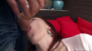 Thick Redhead creams on the cock!